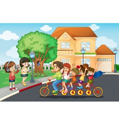 Family bike ride vector