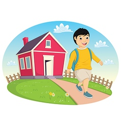Boy leaving home vector