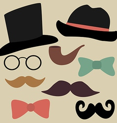 Set for gentelmens party glasses hats bow ties vector