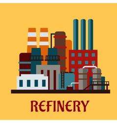 Flat industrial refinery vector