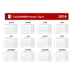 Calendar 2014 french type 9 vector