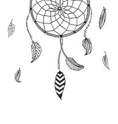 Hand drawn dreamcatcher vector