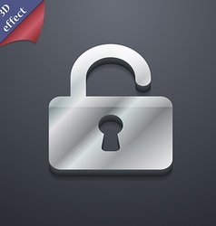 Open padlock icon symbol 3d style trendy modern vector