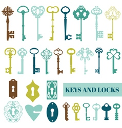 Set of antique keys and locks vector