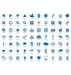 Set of blue navigation web icons vector