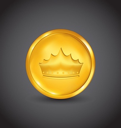 Golden coin with heraldic crown vector