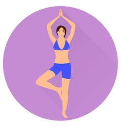 The girl is engaged in yoga icon vector