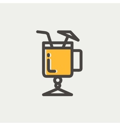 Cold ice tea with straw thin line icon vector
