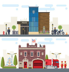 Landscape with police and fire station vector