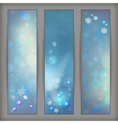 Christmas abstract bokeh snowflake banners vector