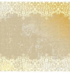 Vintage linen canvas burlap floral background vector