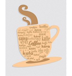 Cup of coffee in 36 different language vector