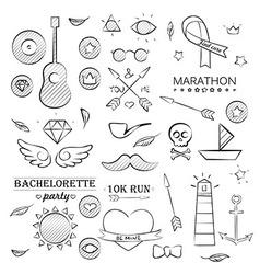 Doodle sea hand drawn objects set vector