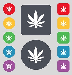 Cannabis leaf icon sign a set of 12 colored vector