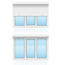 Plastic window with rolling shutters 06 vector