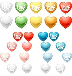 Set of colored balloon hearts collection vector
