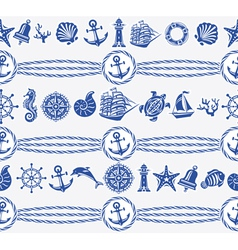 Banners with nautical and sea symbols vector
