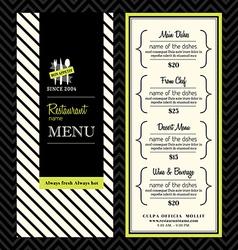Modern restaurant menu design template layout vector