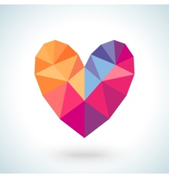 Bright colorful heart shape in modern polygonal vector