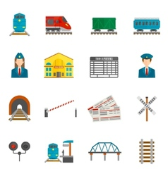 Railway icons set vector
