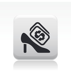 Shoe cost icon vector