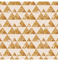 Pattern geometric with triangle and plant elements vector