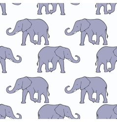 Seamless pattern with ilhouette elephants vector