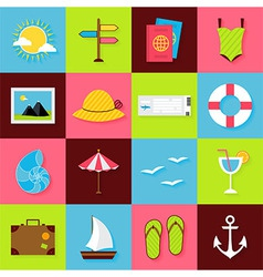 Flat summer travel objects set vector