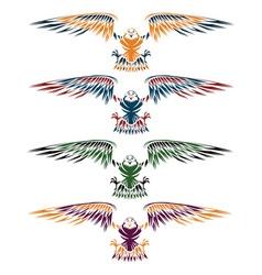 Colourful eagles set design template vector
