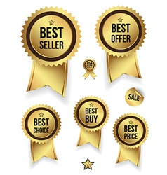 Gold badges set promotion guarantee vector