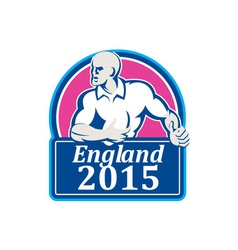 Rugby player running ball england 2015 retro vector