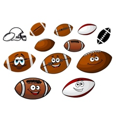 Cartoon footballs and rugby balls characters vector