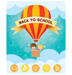 Children on hot air balloon back to school vector