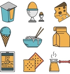 Set of colorful food icons vector