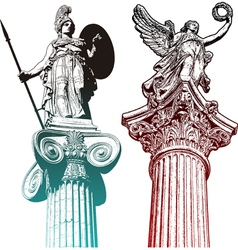 Mytologic statues vector