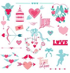 Vintage love elements vector