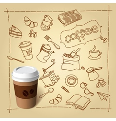 Coffee break doodles and paper cap vector