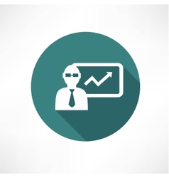 Businessman with graph icon vector