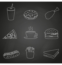 Fast food restaurant outline icons on black board vector