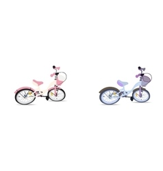 Set of children bicycle isolated vector
