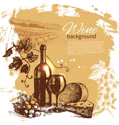 Hand drawn vintage wine menu background vector