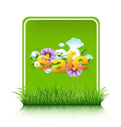 Sale blank gift tag with grass border vector