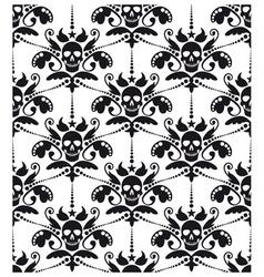 Pattern baroque with skulls vector