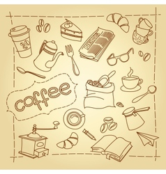 Coffee break doodles background vector