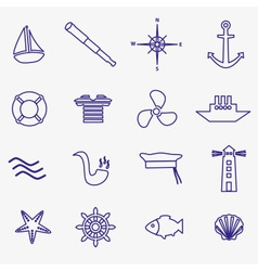 Nautical blue simple outline icons set eps10 vector