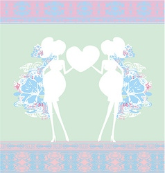 Pregnant woman baby shower card vector