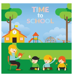 Teacher teach kids on school ground vector