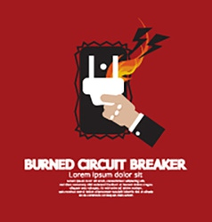 Hand switching burned circuit breaker vector