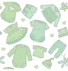 Seamless pattern baby clothes vector