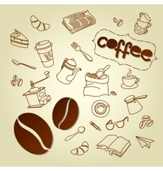 Coffee break menu doodles background vector
